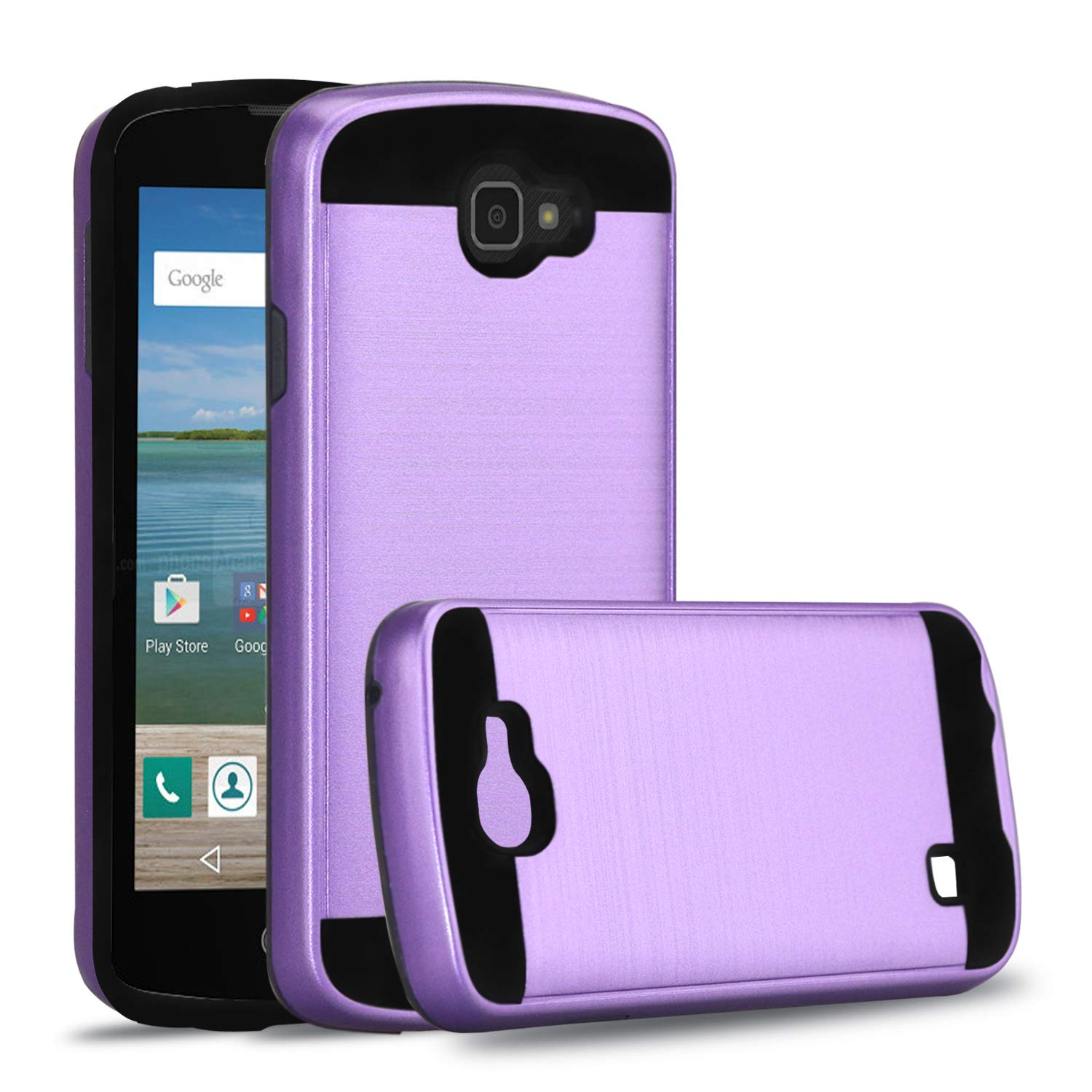 LG Optimus Zone 3 case,LG VS425PP case,LG Spree case,LG K4 2016 case,LG Rebel LTE Case,Ayoo [Drop Protection] Brushed Texture Full-Body Shockproof Protective Cover Design for LG K4-ZS Purple