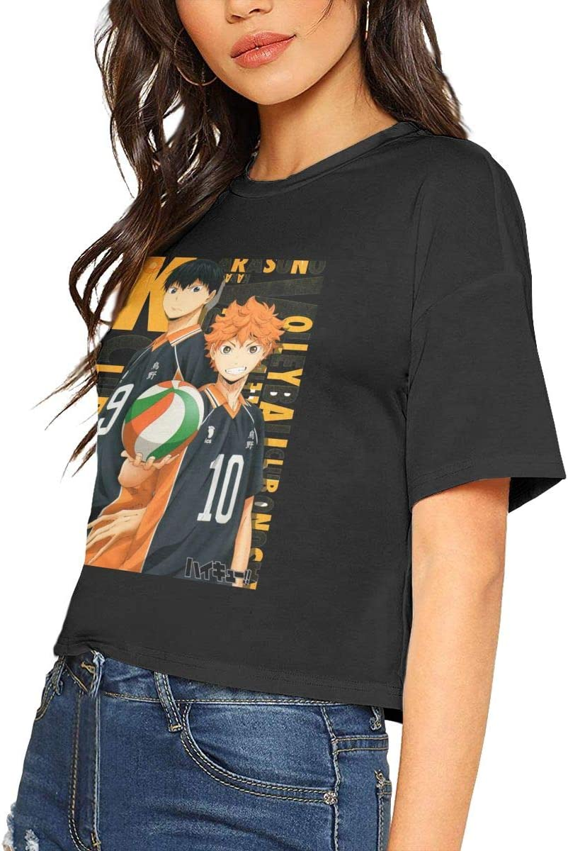 JulieGLee Haikyuu! Womens Short Sleeve Anime Print Baseball Top Shirts XL