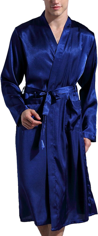 Surenow Homme Pyjama Robe De Chambre Peignoir De Bain Satin Amazon Fr Vetements Et Accessoires