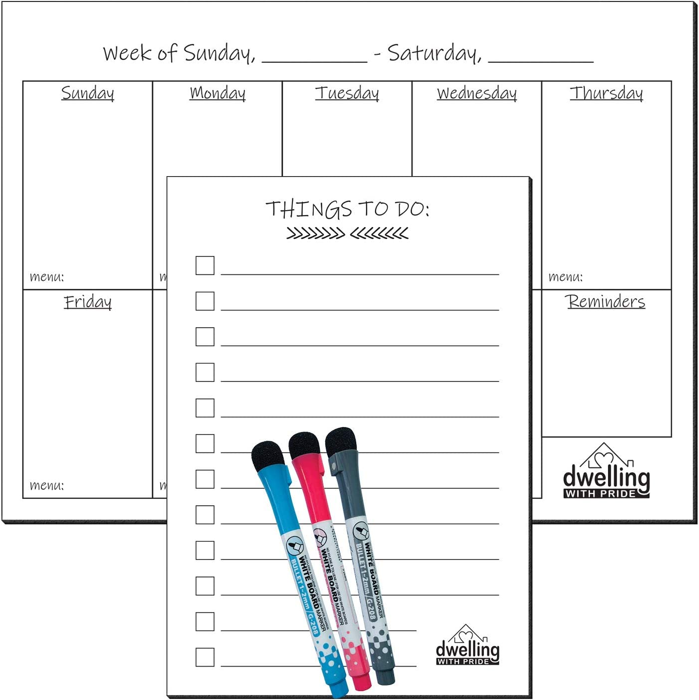 Magnetic Whiteboard for Refrigerator - Magnetic Dry Erase Board - Fridge Magnet Whiteboard - with 3 Magnetic Pens and to-Do List (White, Weekly Planner)