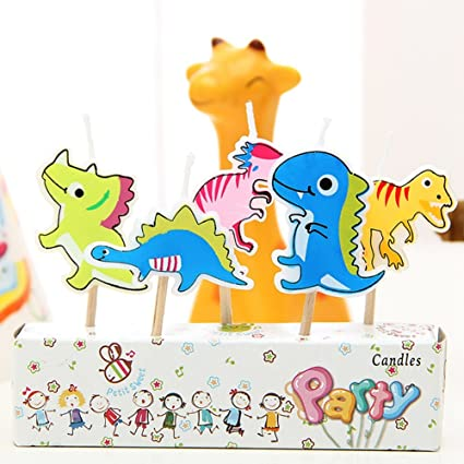 Zehui Creative Cartoon Birthday Cake Decoration Candles Cute 5PCS Dinosaur