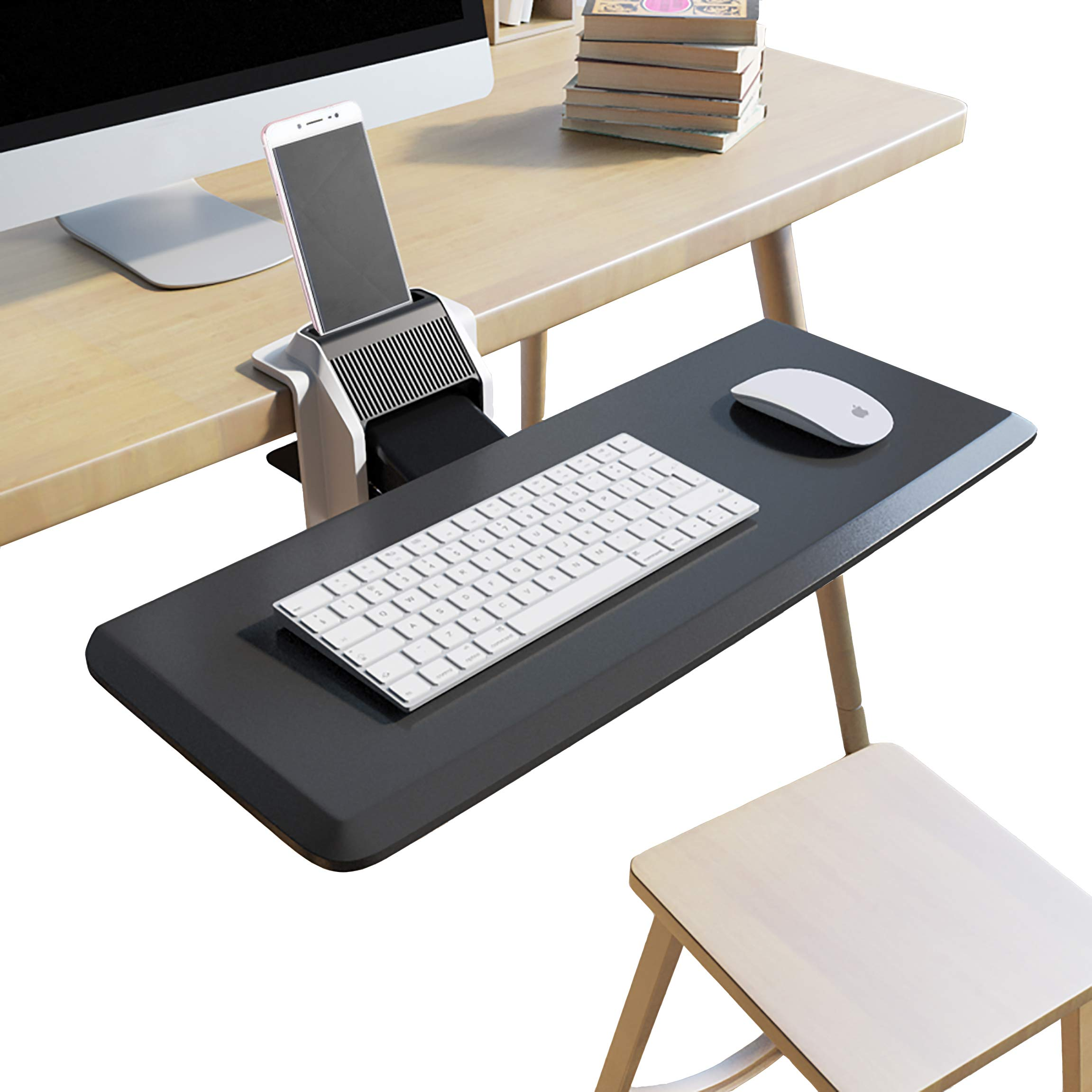 Clamp On Keyboard Tray Adjustable Angle and Height with Cellphone Holder Stand Easy Installation No Need to Drill & Screw, Not Sliding Under The Desk or Counter, Ergonomic Design Anti Slip Wrist Rest by TrayClicks