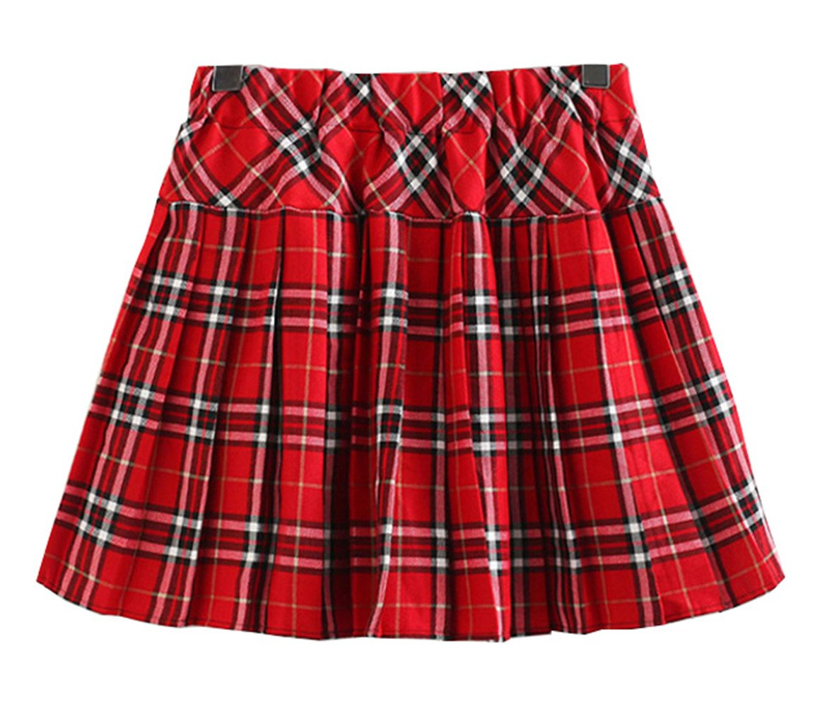 Girl`s Plaid navy clothing Elasticated Pleated Skirt(Child S, Red white)