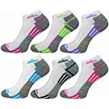 6 Pairs Ladies Prohike Cushioned Trainer Socks, White Grey Multi, Size 4-8