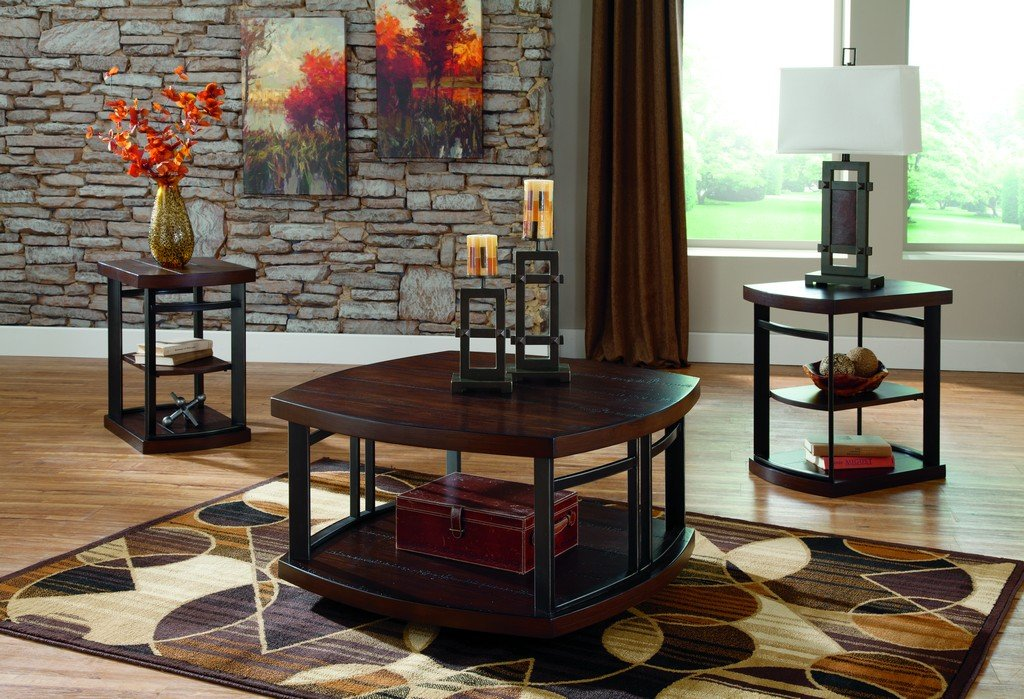 Amazon.com: Ashley Furniture Signature Design   Challiman Occasional Table  Set   1 Coffee Table And 2 End Tables   Set Of 3   Rustic Brown: Kitchen U0026  Dining