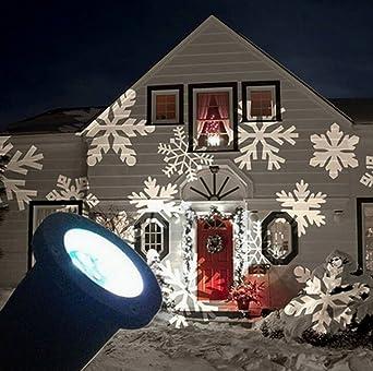 Led Weihnachten.Smithroad Ip67 Led Projektionslampe Schneeflocken Muster Strahler Für Weihnachten Innen Und Außen Garten Beleuchtung Weiß