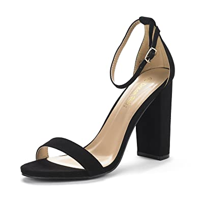 5c51cd801c4 DREAM PAIRS Women s Hi-Chunk Black Suede High Heel Pump Sandals - 5 ...