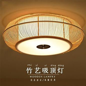 BRIGHTLLT Kreative Japanische Bambus Lampe Wohnzimmer Restaurant Schlafzimmer Holz LED Leuchte Deckenleuchte