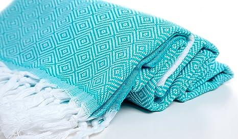 Diseño de diamantes algodón toalla Pestemal blanco en turquesa. Turco toalla. Turco toalla de