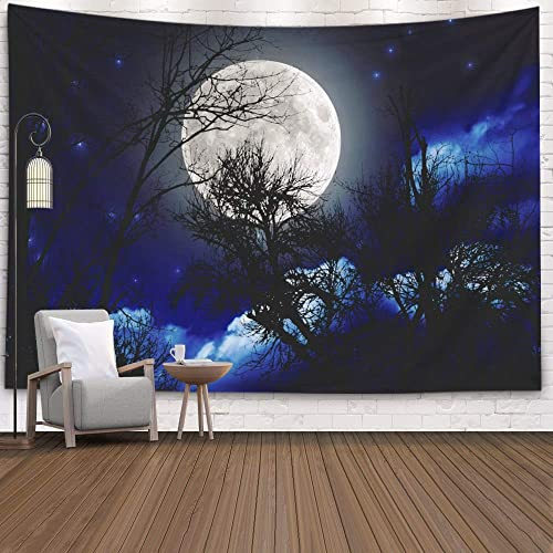 ROOLAYS Starry Art Print Wall Hanging Tapestry for Men, Home Art Decor Full Moon Rising Horizon Tree Silhouettes Stars My Astronomy Work with 80×60 Inches for Living Room Dorm Tapestries,Green Black