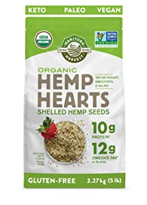 Manitoba Harvest Organic Hemp Hearts Raw Shelled Hemp Seeds, 5lb; with 10g Protein & 12g Omegas per Serving, Whole 30 Approved, Non-GMO, Gluten Free