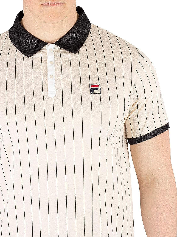 549a184f771d1 Fila Vintage White Line Mens BB1 Stripe Tennis Polo Shirt: Amazon.co.uk:  Clothing