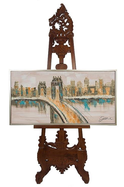 Original Ölgemälde mit Rahmen Gemälde Brooklyn Bridge New York Usa 124x64cm