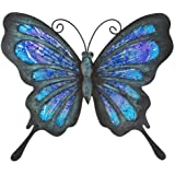 HONGLAND Metal Butterfly Wall Decor Outdoor Indoor Art Sculpture Hanging Glass Decorations Blue for Home Garden Bedroom
