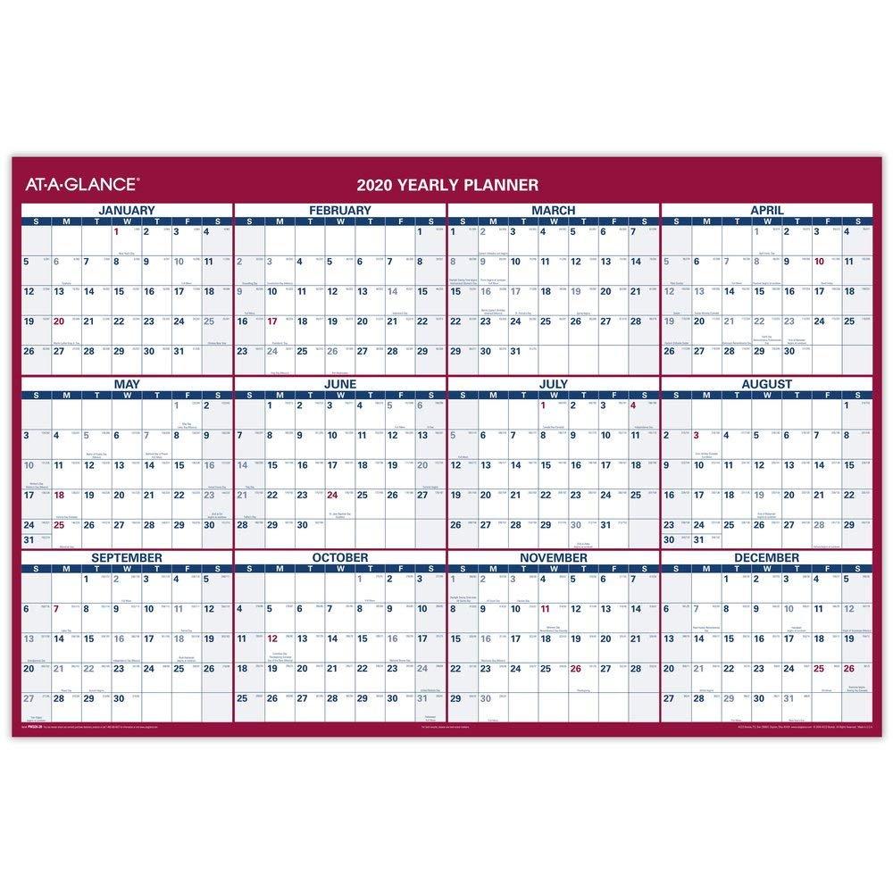 AT-A-GLANCE 2020 Erasable Wall Calendar, 48'' x 32'' Yearly Planner, Jumbo, Dry Erase, Reversible, Vertical, Horizontal (PM326P28) by AT-A-GLANCE