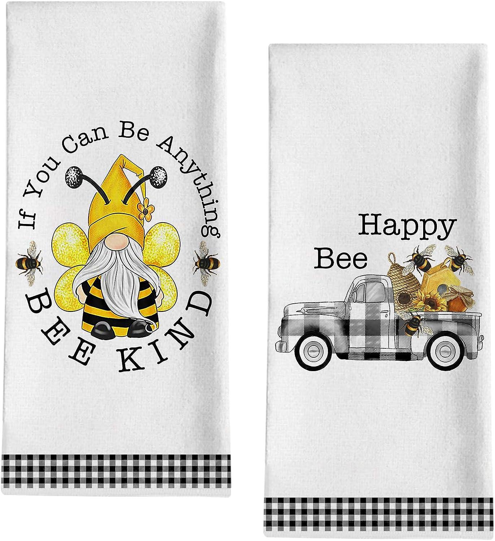 "Seliem Summer Bee Happy Kind Gnome Kitchen Dish Towel, Buffalo Plaid Check Truck Bath Fingertip Towel Tea Bar Hand Drying Cloth, Farmhouse Honeycomb Decor Sign Home Dining Decorations 18"" x 28"""