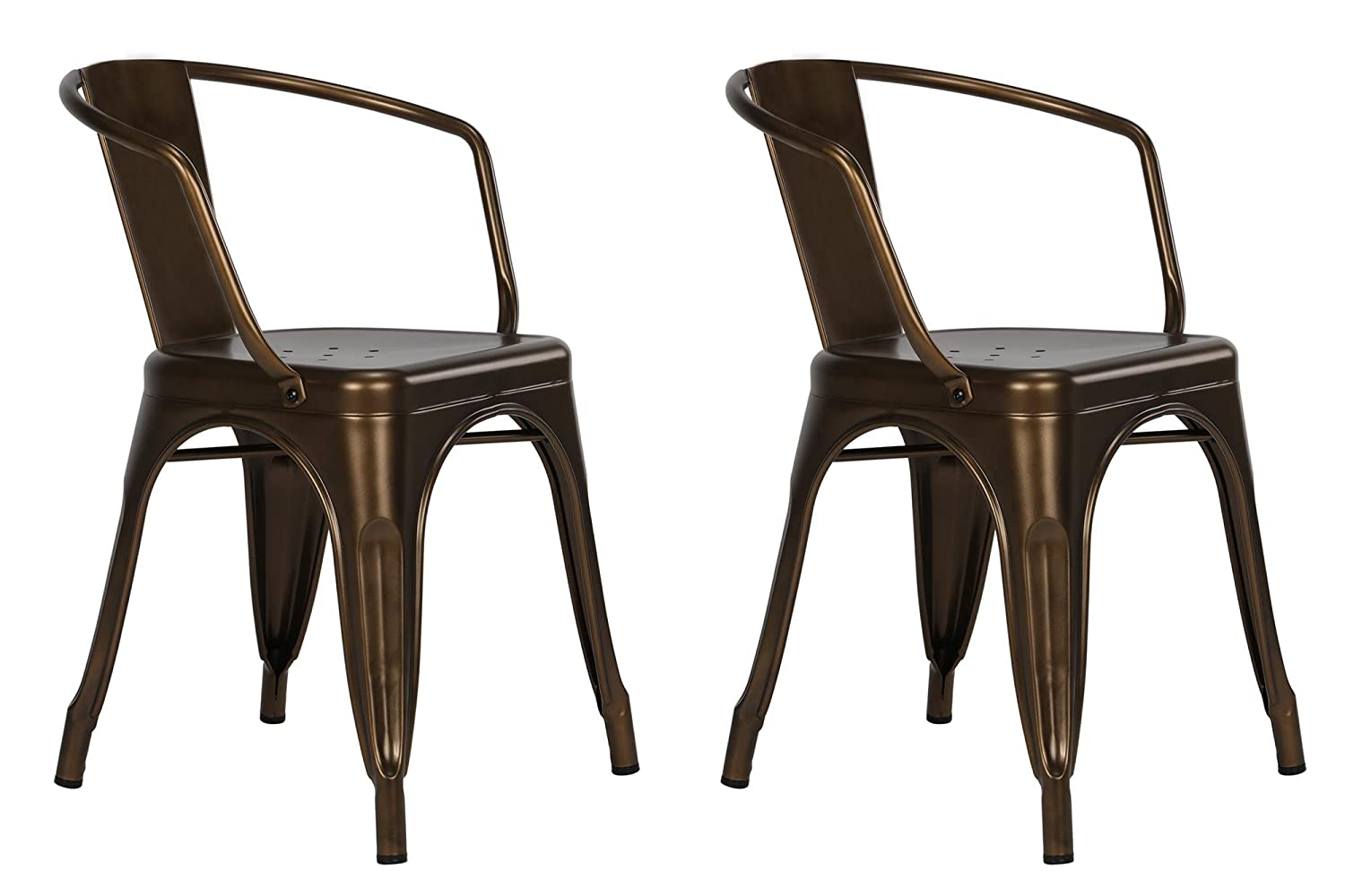 Delicieux Amazon.com: DHP Elise Metal Dining Chair, Set Of Two, Antique Bronze:  Kitchen U0026 Dining