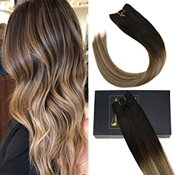 Sunny 24 Pollici Naturali Lisci Capelli In Tessitura 100 Grammi Hair Weft Un Pezzo Sew In Weaving Balayage Extension Marrone Scuro A Medio Con Biondo