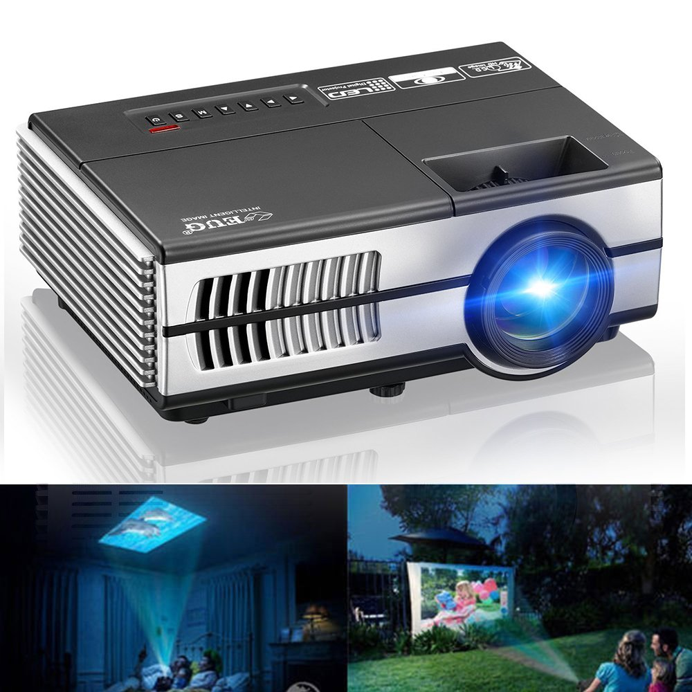 EUG LCD Mini Projector Multimedia Home Theater Projector Portable 1500 Lumen Support 1080P 720P HDMI USB VGA TV Laptop Game Movie, with Built-in Speakers