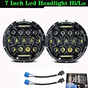 Ricoy DOT Approved,7 Inch Round 75W LED Projector Headlight with DRL for Jeep Wrangler JK TJ LJ CJ Land Rover 90/110 davidson Motorcycle(Pack of 2)
