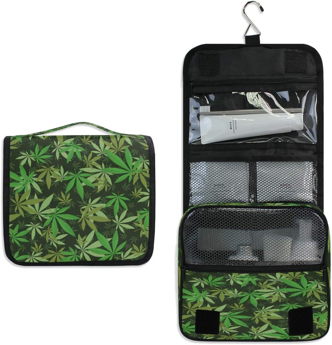 RXYY Bolsa de aseo para colgar de viaje, diseño de hojas de marihuana, plegable, organizador de baño, gimnasio, portátil, neceser de cosméticos para mujeres y niñas