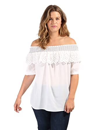 5f76da3eeff Koko Women's Plus Size White Embroidered Broderie Anglaise Frill Off  Shoulder Bardot Top ...