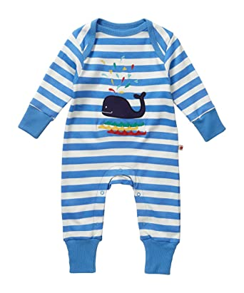 a0ce3a73fdb3 Piccalilly Organic Cotton Blue and White Baby Boys Stripey Whale ...