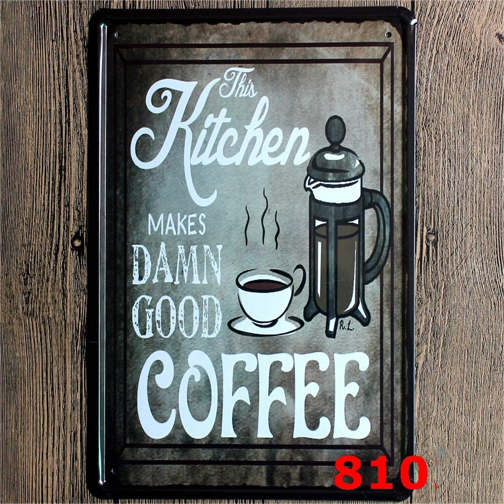 Black Original Design This Kitchen Makes Coffee, Tin Metal Wall Art Signs, Thick Tinplate Print Poster Wall Decoration for Cafe/Man Cave/Coffee Corner (Kitchen coffee, 8x12 Inches (20x30 CM))