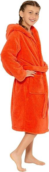 Made in Turkey Boys and Girls Hooded Robe Plush Microfleece Bathrobe Soft