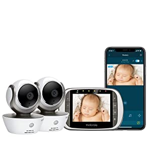 Motorola MBP853CONNECT-2 Dual Mode Baby Monitor with 2 Cameras and 3.5-Inch LCD Parent Monitor and Wi-Fi Internet Viewing