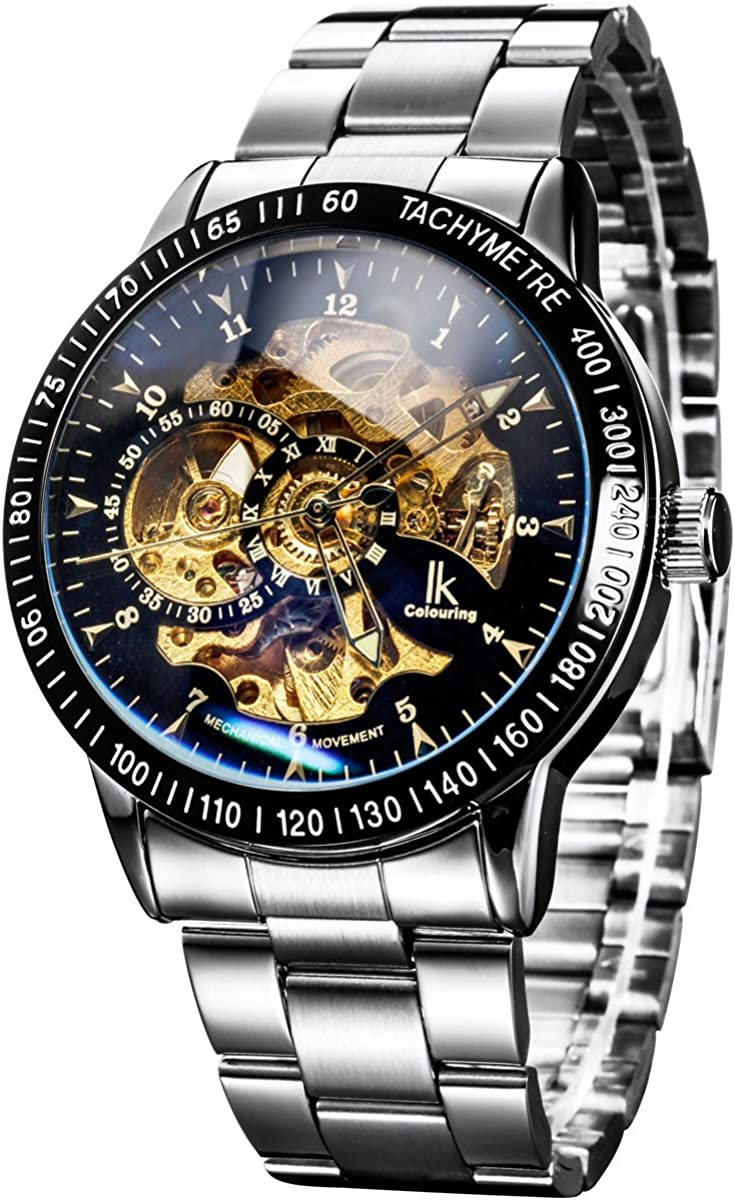 Alienwork IK Reloj Automático Hombre Mujer Analógicos Esqueleto