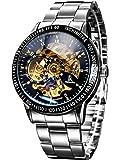 Alienwork IK mechanische Automatik Armbanduhr Skelett Automatikuhr Uhr Herren Uhren sport Zeitloses Design Edelstahl schwarz silber 98226-11