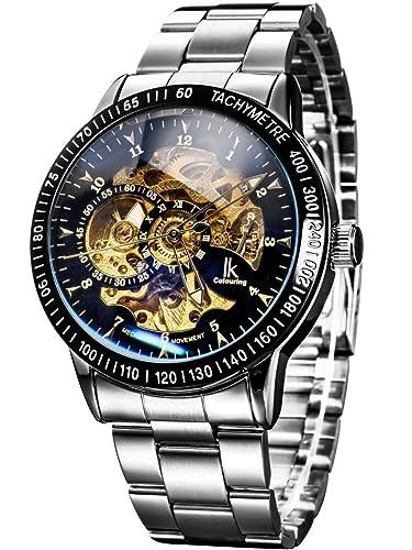 438dfa70f Alienwork IK Mechanical Automatic Watch Men Women Watches for Boys Ladies Stainless  Steel Metal Strap Silver