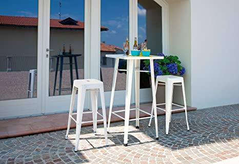 Import tavolo bar con sgabelli in lamiera stile industriale avorio