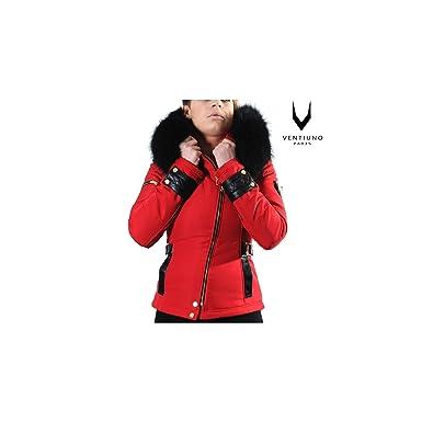 023f4a8a4f Ventiuno Veste Perfecto Emily Rouge Bi-matière Fourrure Renard véritable  Noir Cuir - XXXL -