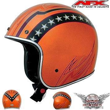 AFX fX76Jet casco de motocicleta color naranja metalizado Harley Chopper Caferacer Custom Retro