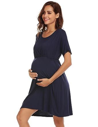 159b1820f69cc Keelied Women's Maternity Nightdress Summer Short Sleeve Breastfeeding  Dresses Cotton Nursing Nightwear: Amazon.co.uk: Clothing