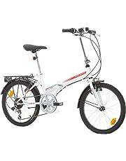 """Bikesport FOLDING Bicicletta Pieghevole 20"""" (Bianco lucido rosso)"""
