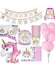 Jolily Décorations Anniversaire Licorne Pack Fournitures Vaisselle 16 invités 1 Nappe Housse 16 Tasses 16 Assiettes 16 Serviettes 1 bannière Happy Birthday 1 Licorne géante 10 Ballons Roses