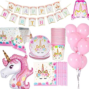 Jolily Decorazioni Compleanni Unicorno Pacco 16 Ospiti, 1* Tovaglia Copertina 16* Tazze 16* Piatti 16* Tovaglioli, 1* Buon Compleanno Banner 1* Unicorno di Dimensioni enormi 10* Palloncini Rosa