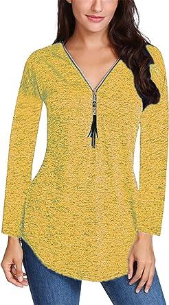 Camiseta Túnica Mujer Asimétrica Tallas Grandes Jersey con Cremallera Sudadera Otoño Invierno Blusa Irregular Cache Camisa Corazón Manga Larga Cuello ...