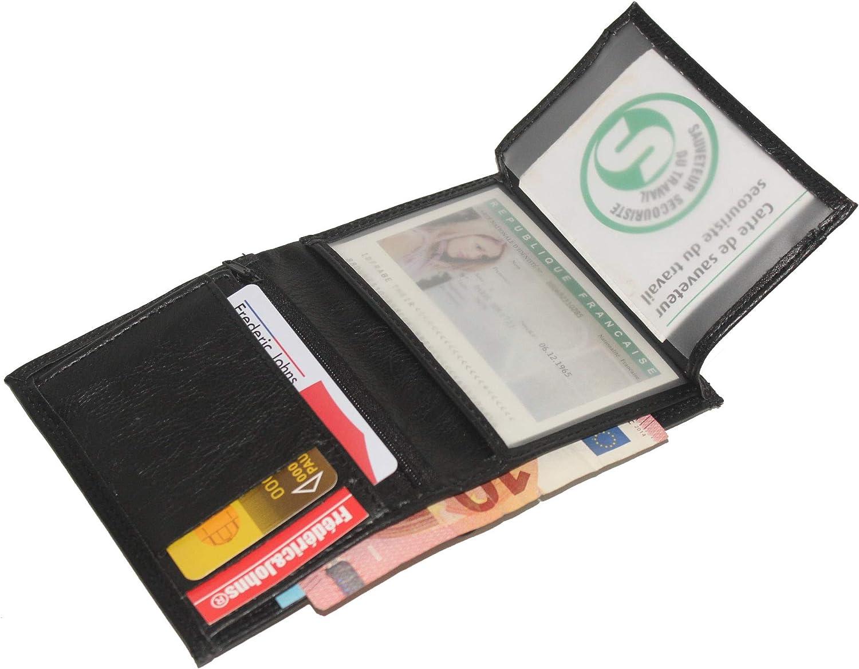 Fr/éd/éric/&Johns /® Portefeuille Portefeuille pour Homme Noir Portefeuille permis de Conduire Portefeuille Carte d/'identit/é Portefeuille Homme
