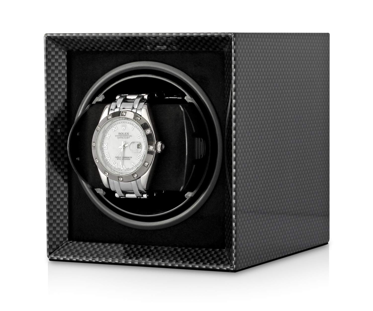 Watch Winder Box for Winding Single Automatic Watch with LCD Display and Rechargeable Battery for All Watch Brands in a Compact Size (Carbon)