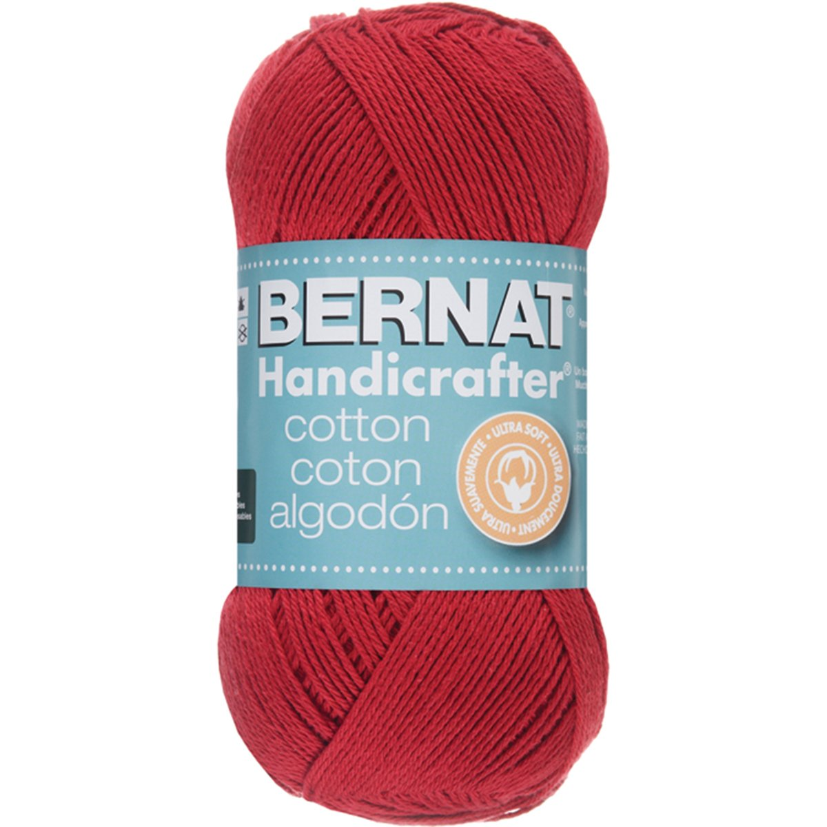 Bernat Handicrafter Cotton Yarn, Solids, Country Red, Single Ball