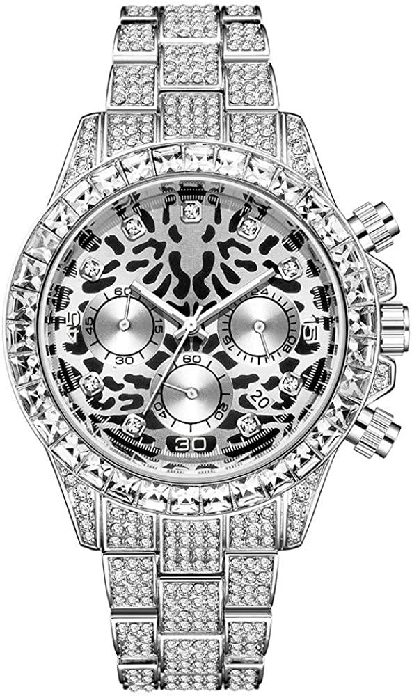 Yidali Iced out Bling Full Reloj de Pulsera de Cristal checo Hip Pop Diamante Redondo simulado Reloj de Calendario Reloj con Estampado de Leopardo Reloj de Marca de Moda para Hombres/Mujeres