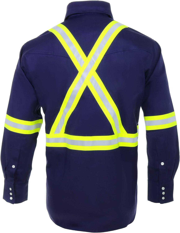 88/% C//12/% N 4X-Large, Khaki 7oz Flame Resistant FR High Visibility Hi Vis Shirt