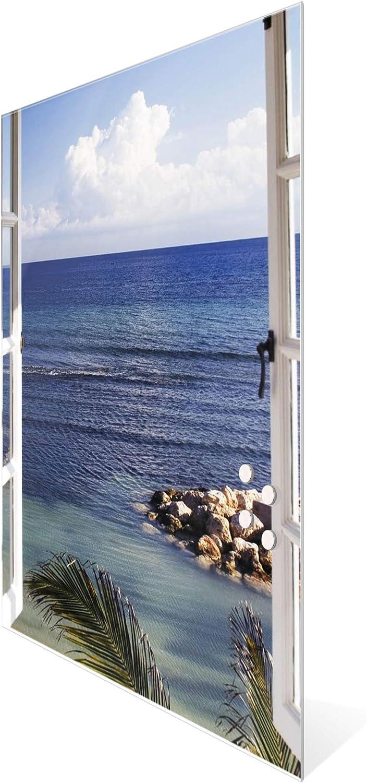 BANJADO Design Glas-Magnettafel 50x75cm gro/ß Memoboard beschreibbar Magnetwand mit 4 Magneten Magnetboard mit Motiv Fensterpanorama