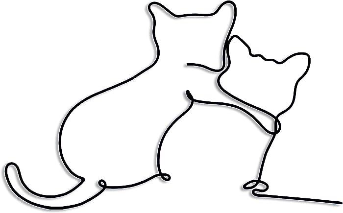 Matani Metal Cat Wall Art | Cat Wall Decor | (Hug)