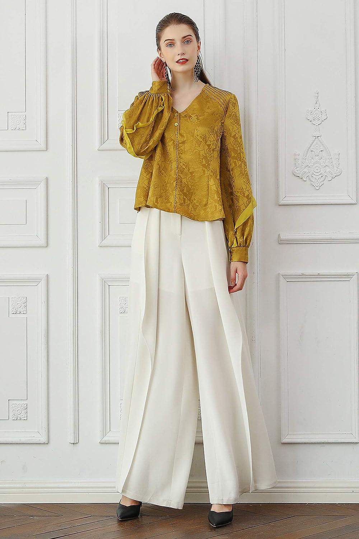 VOA Champagne Gold Silk Arch Fold Print V-Neck Shirt Sleeve Casual Shirt T-Shirt