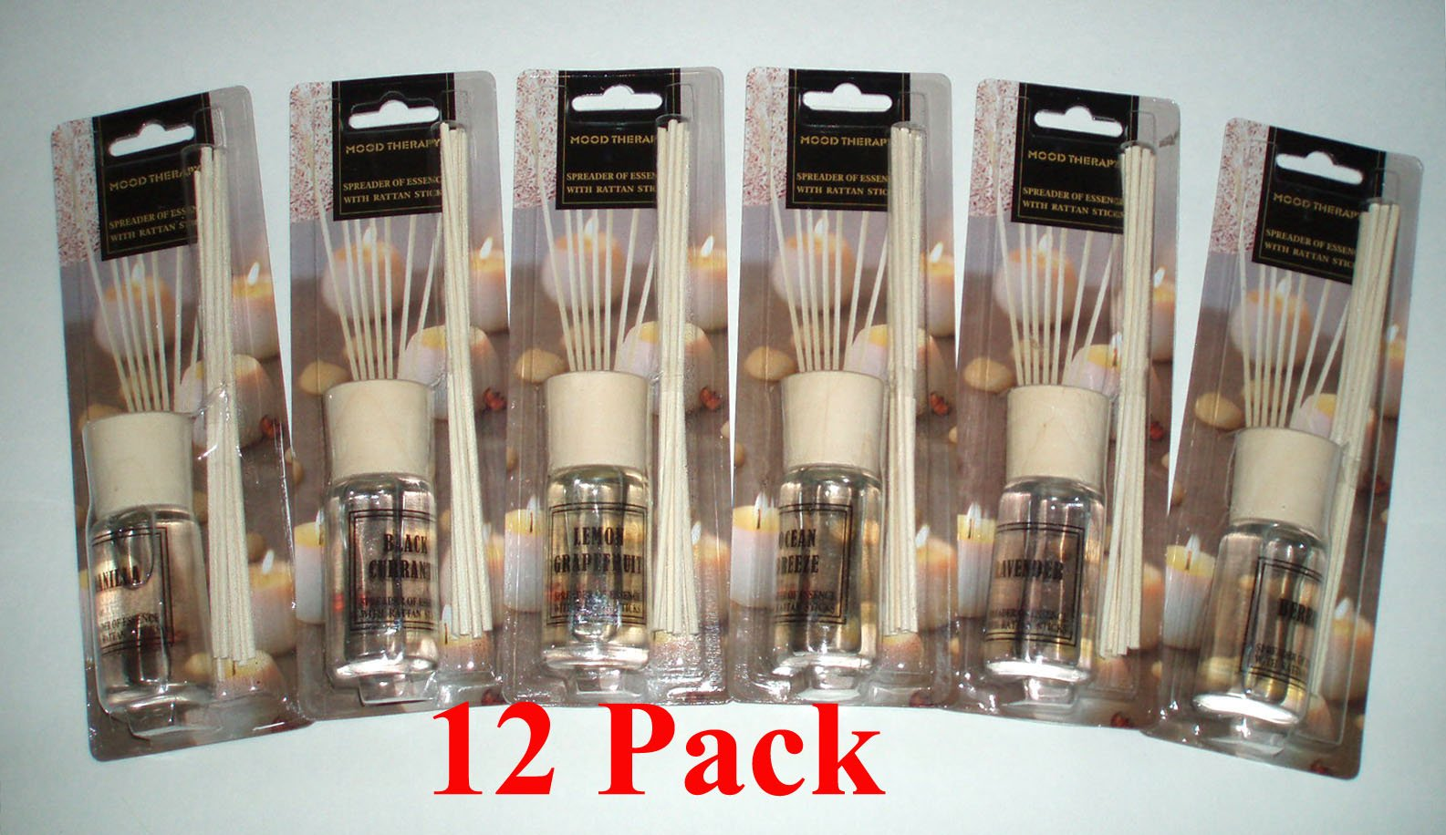 12 packs Mood Therapy Fragrance Oil Reed Diffuser Sets Wholesale Lot (12 x 1.2 oz) (Case of 12) HUGE VALUE